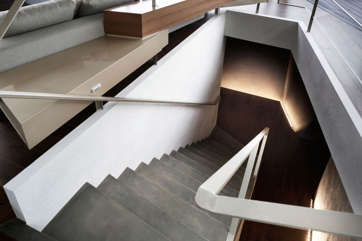 The SRK residence in Tokyo features accent lighting for the staircase walls