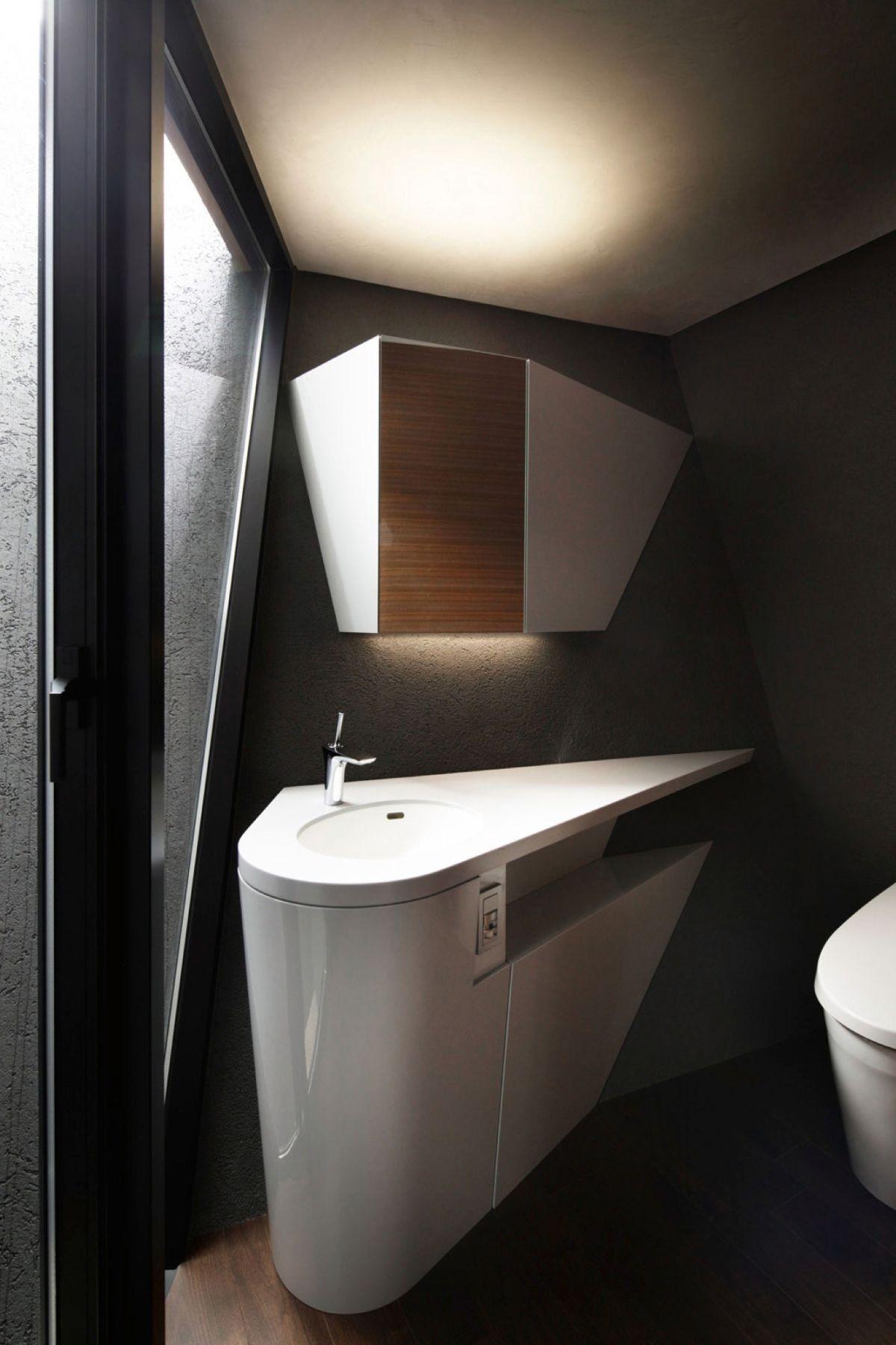 The SRK residence in Tokyo features sculptural bathroom vanities