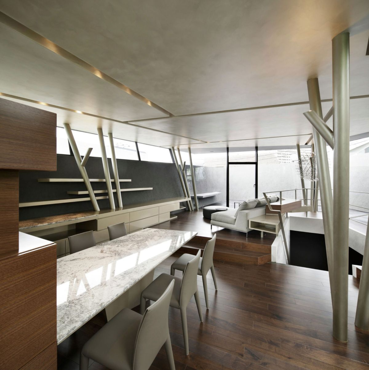 The SRK residence in Tokyo has an open plan living and dining zone