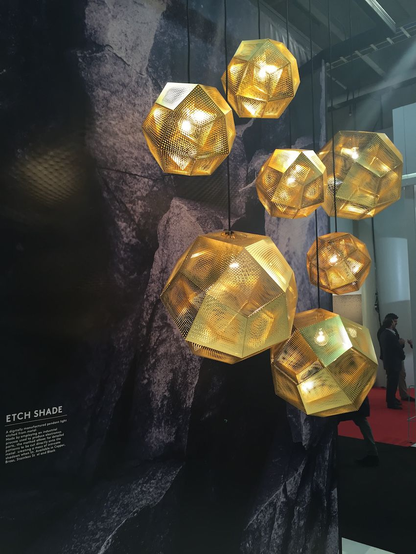 "These Etch pendants from Dixon are ""inspired by the logic of pure mathematics."" The geodesic shapes are made from digitally etched metal sheets."