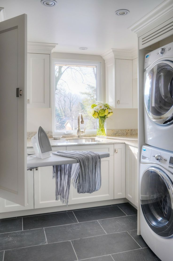 Traditional Laundry Room With Ironing Cabinet