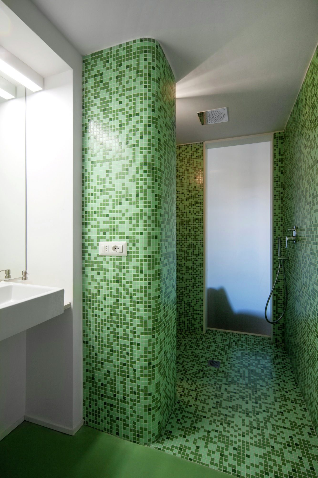 Turin apartment renovation bathroom shower mosaic