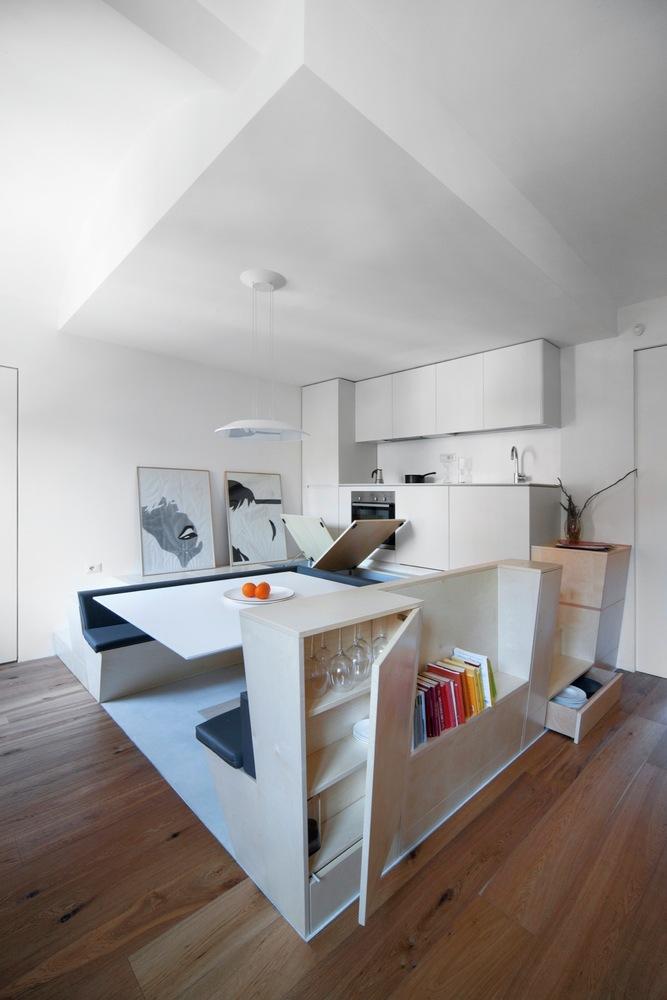 Turin apartment renovation built-in storage diversity