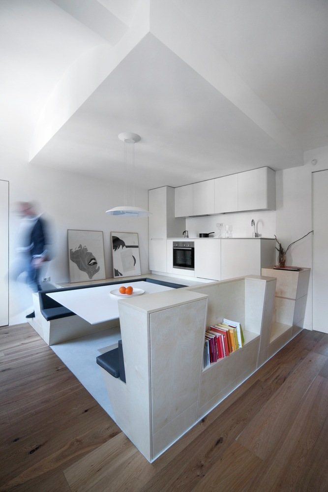 Turin apartment renovation kitchen and dining area