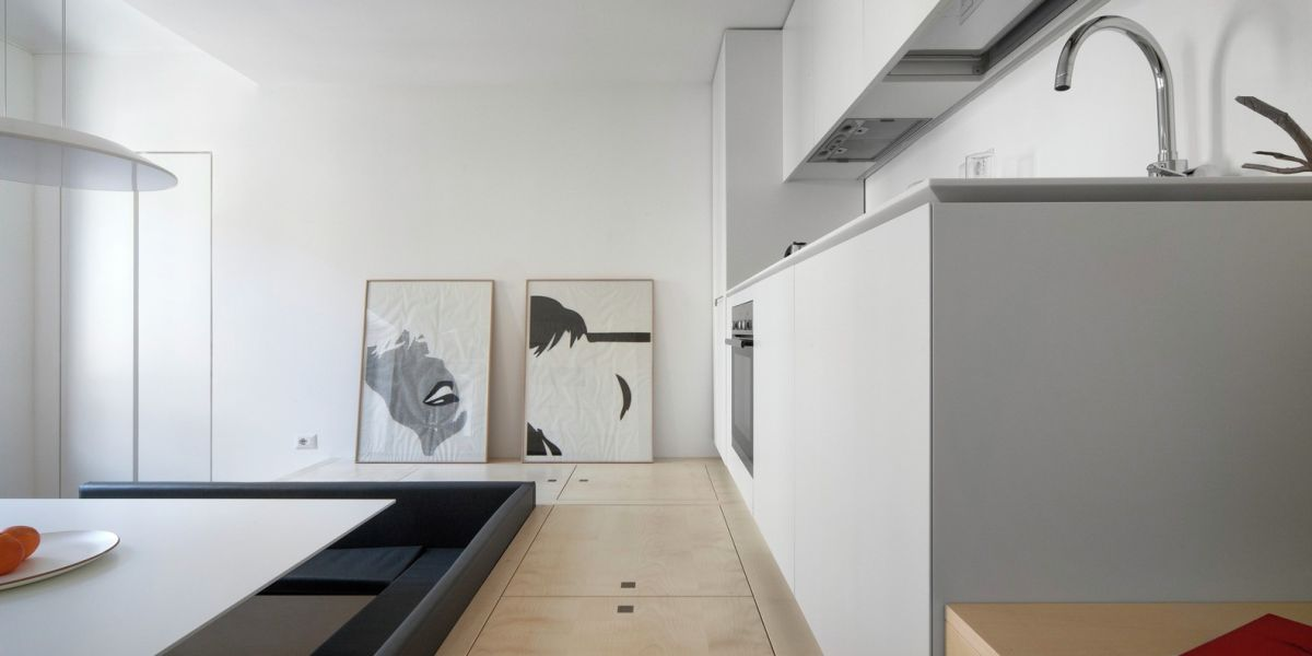 Turin apartment renovation white kitchen