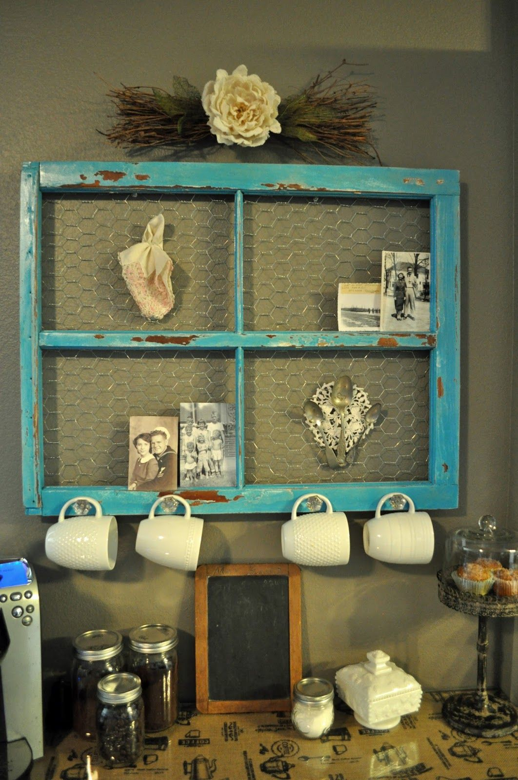 Turquoise window frame coffee corner