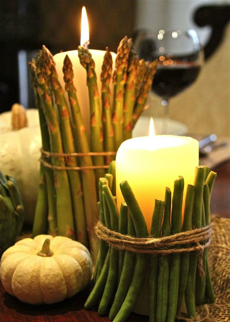 Veggie wrapped candles