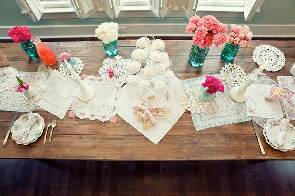 Vintage fabrics and doilies for table runner