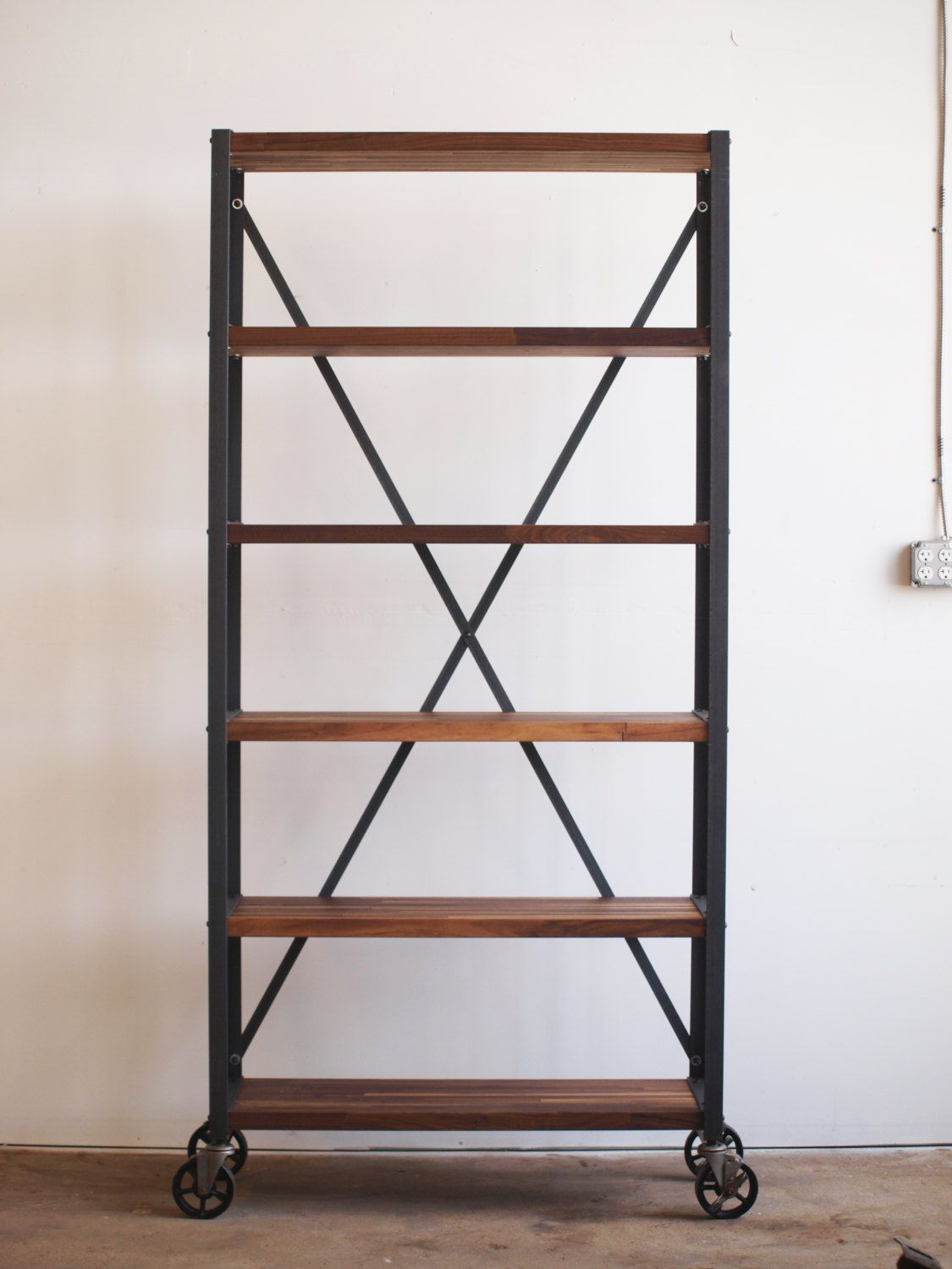 Walnut Engineers Industrial Bookcase