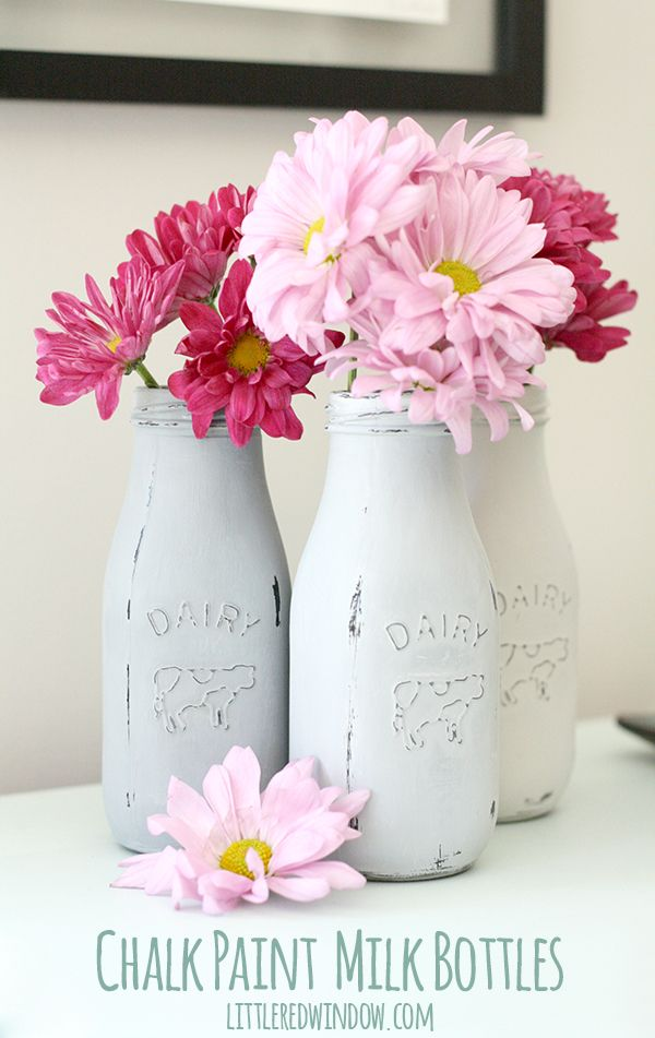 White chalk paint milk bottles