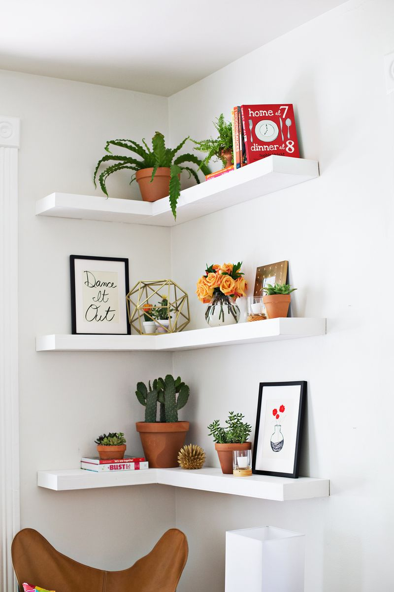 White floating corner shelves