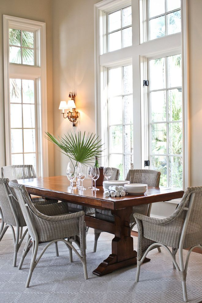 Wicker furniture for dining area
