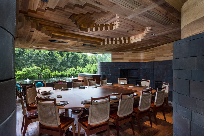 Wood Ceiling art on Chapulin restaurant in Mexico