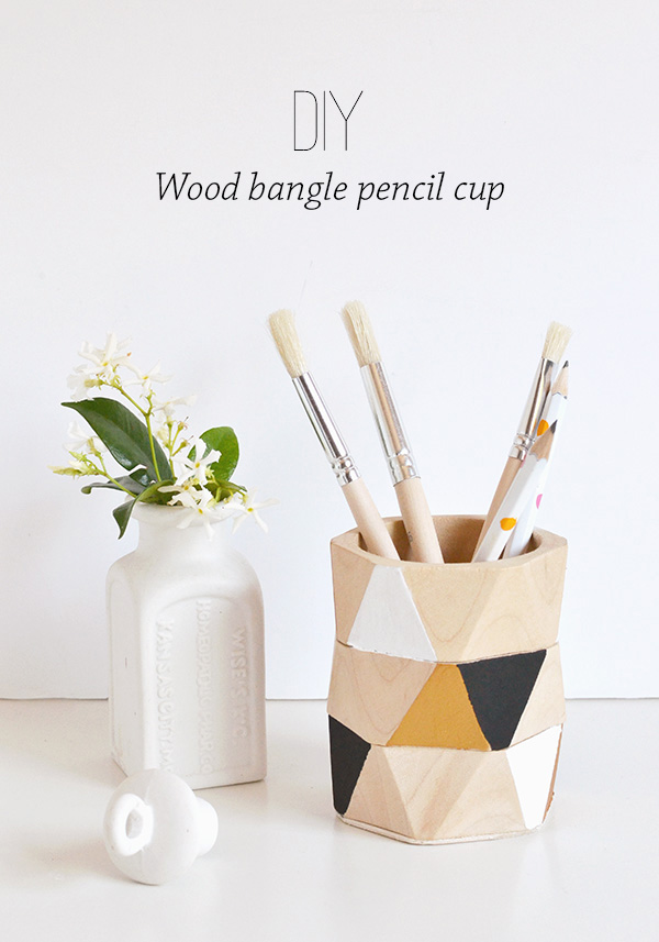 Wood bangle pencil holder