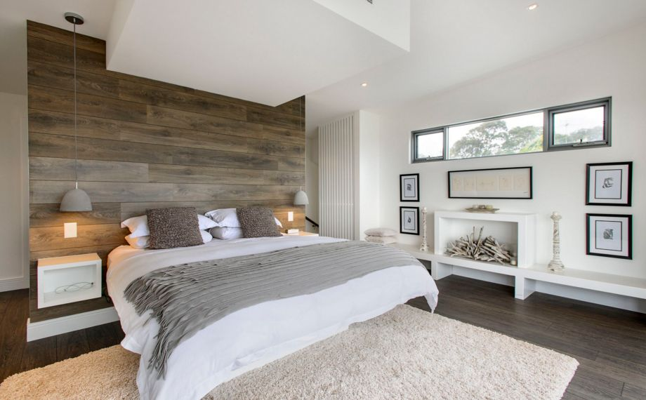 Wood paneling bedroom design and white accents