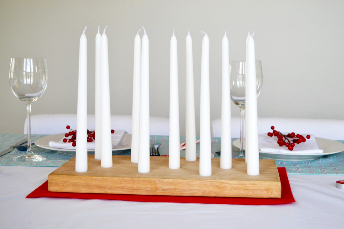 Wood plank candle holder for table centerpiece