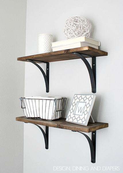 Wood shelves with exposed brackets
