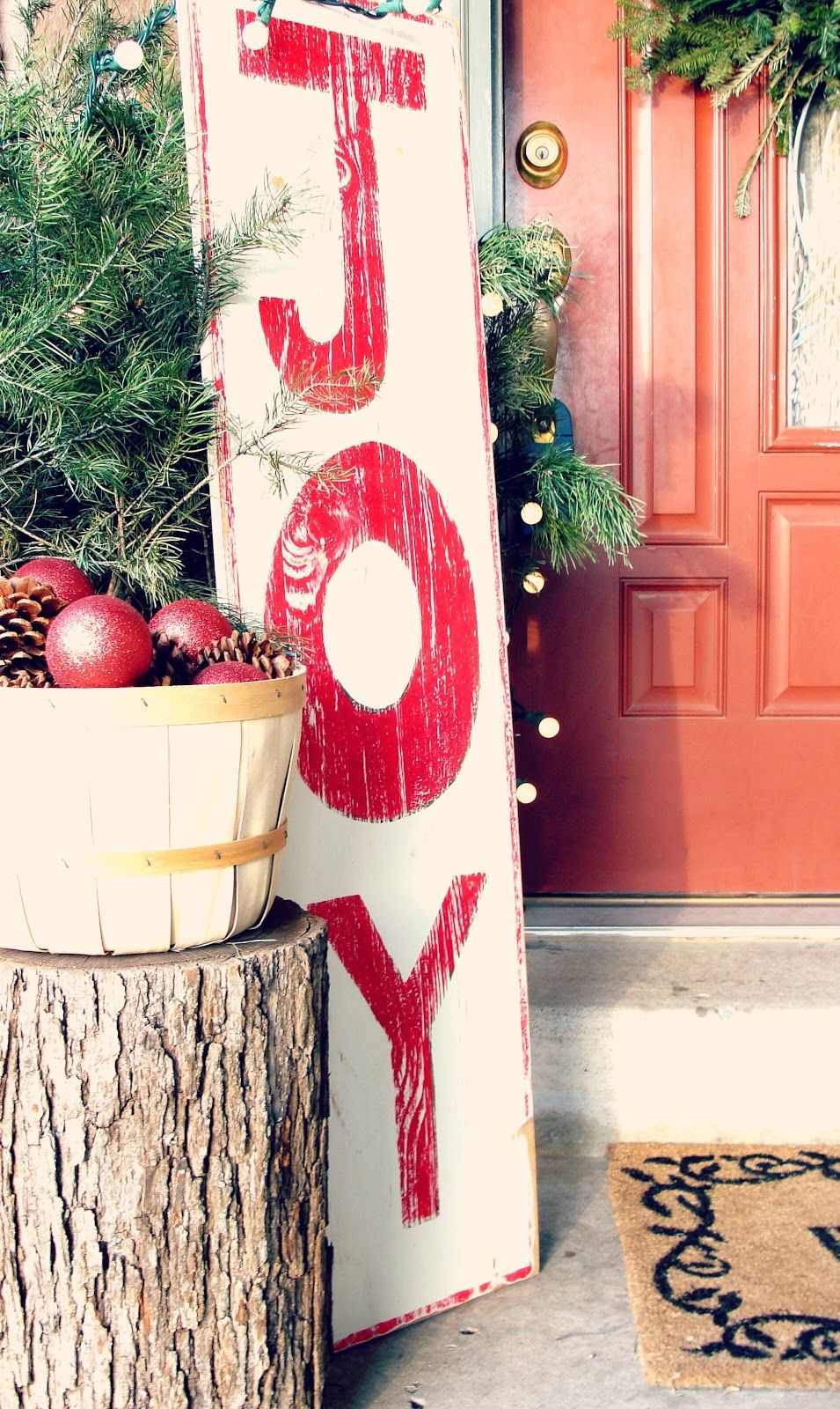wood sign for christmas entryway - Joy Outdoor Christmas Decoration