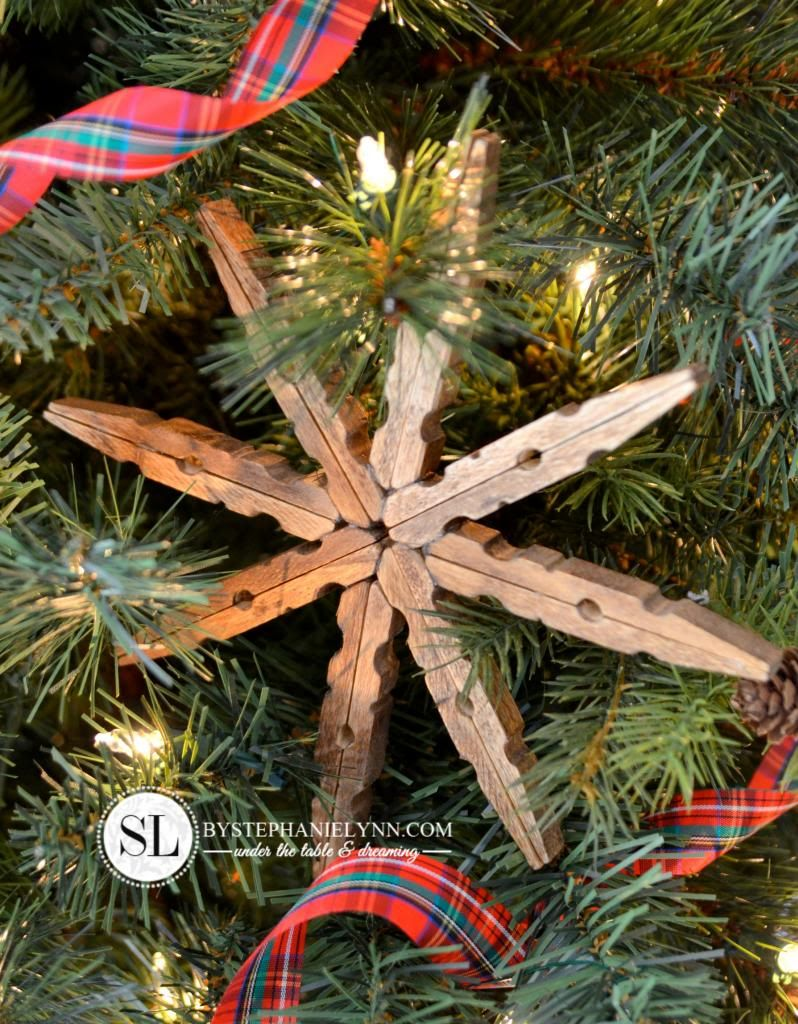 Wooden Clothespin Snowflake Ornaments