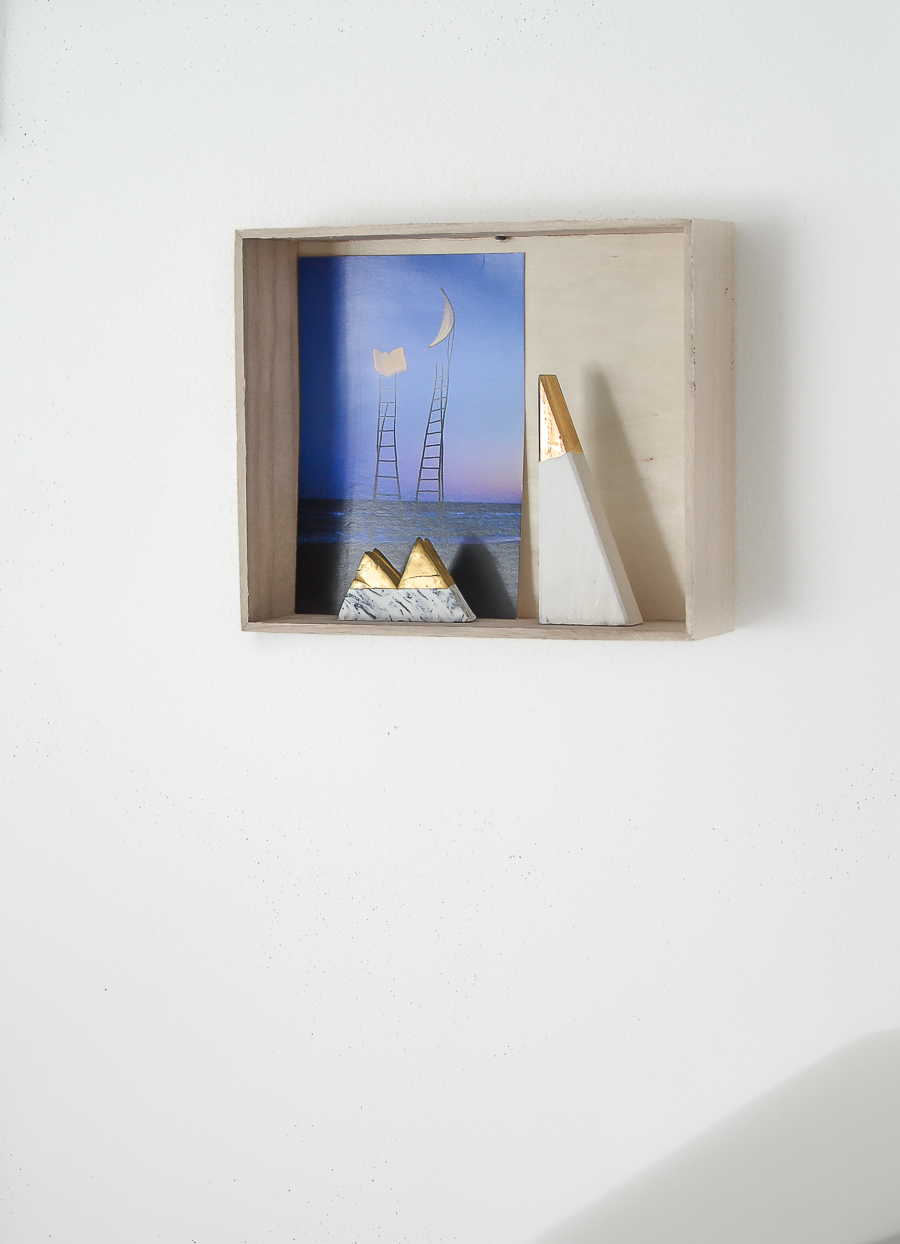 blue wooden shelf postcard