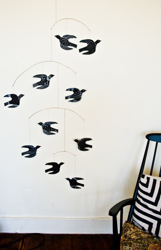completely different paper bird mobile