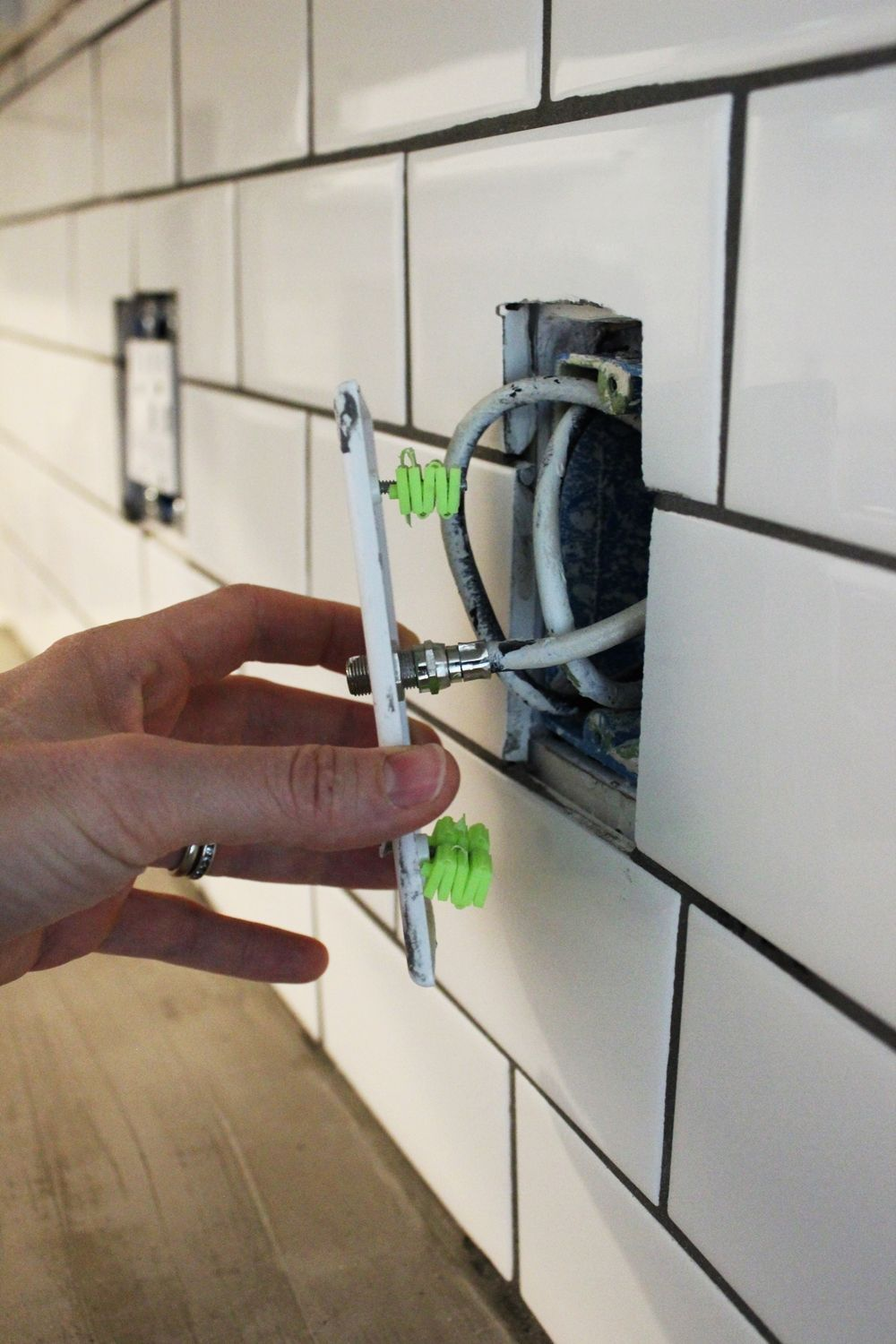 How to install a subway tile kitchen backsplash electricity to the outlets has been switched off dailygadgetfo Choice Image
