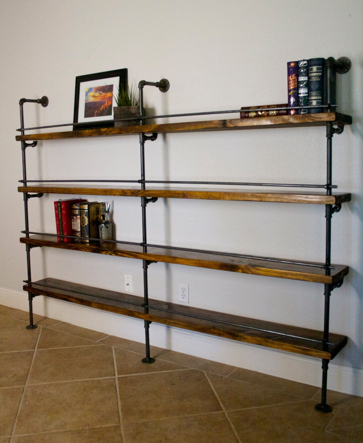 how to select and decorate with an industrial bookcase. Black Bedroom Furniture Sets. Home Design Ideas