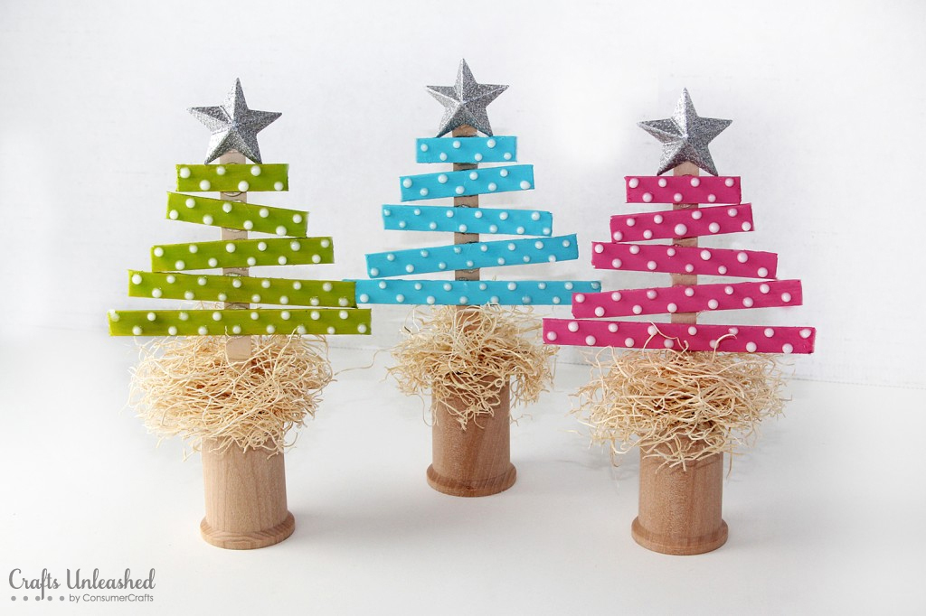 tiny Christmas trees from popsicle sticks