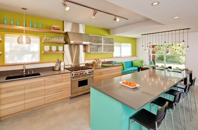 Aqua & Chartreuse Kitchen Color Scheme