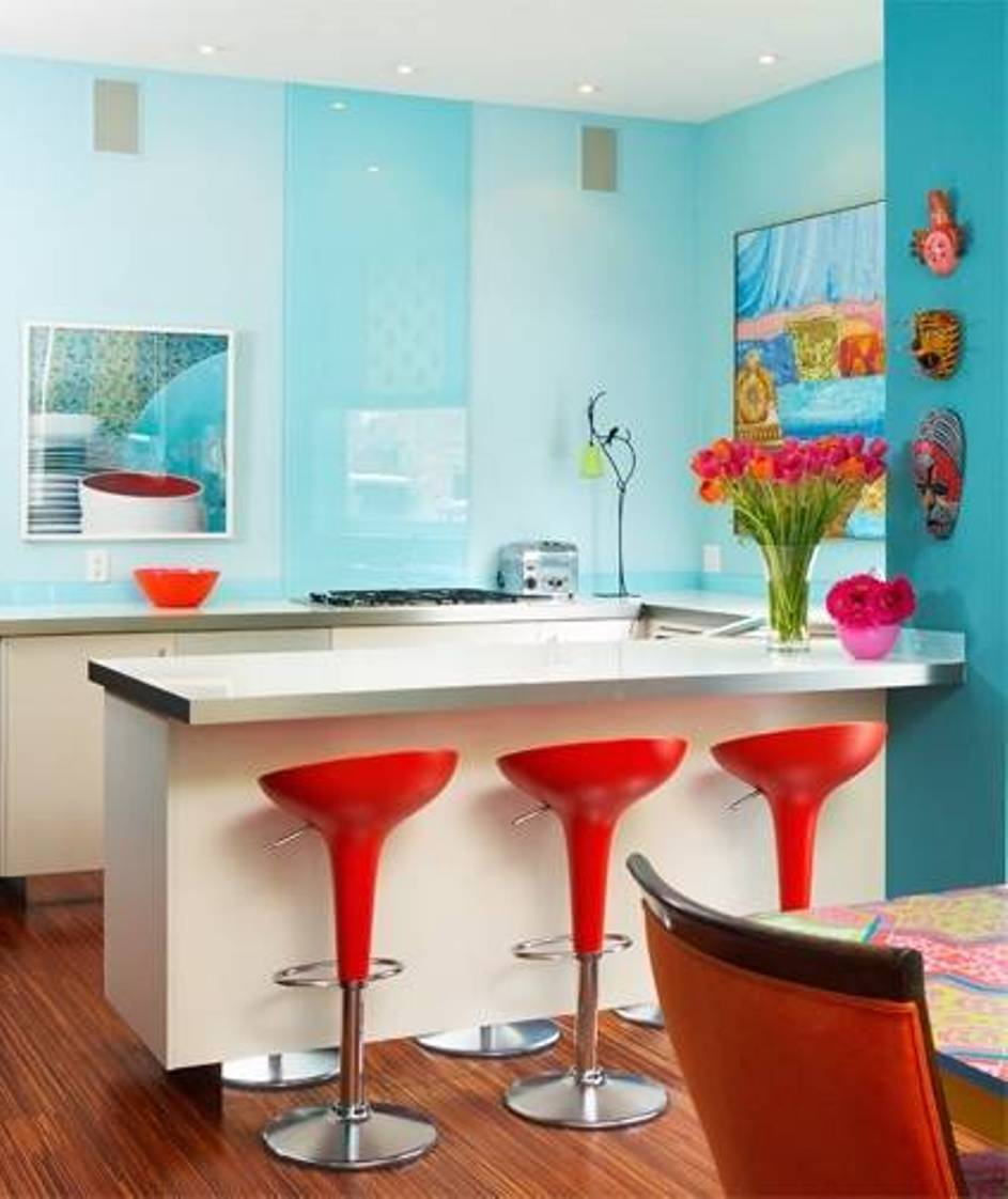 Aqua And Red Kitchen