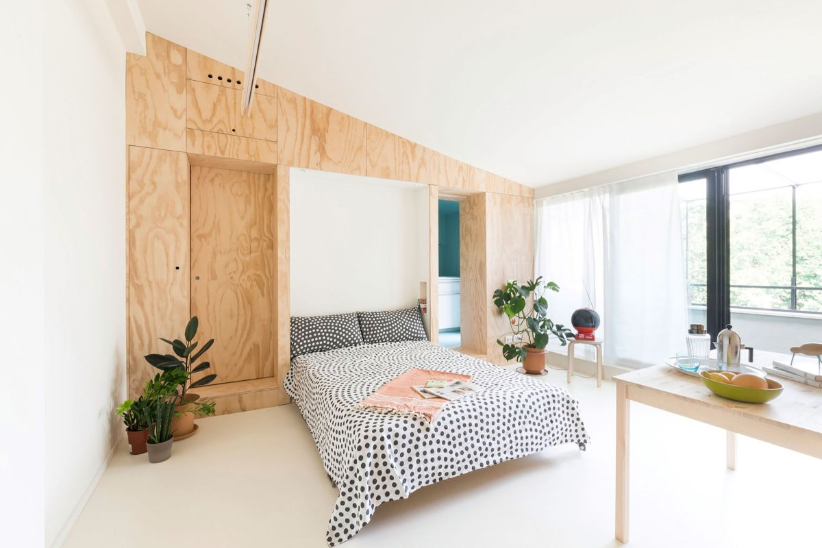 Batipiin Flat by studioWOK living room turned into bedroom