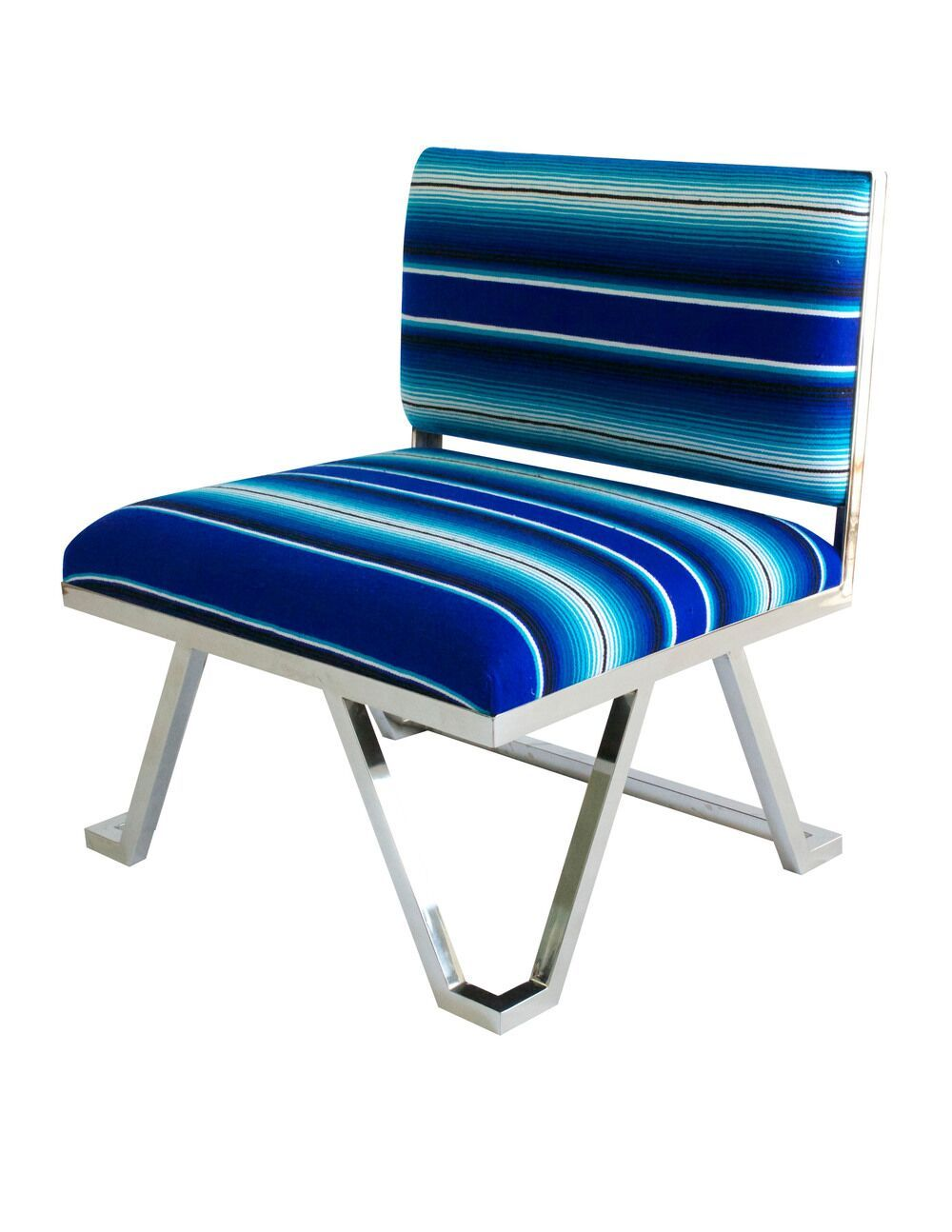 Blue small chair with chrome base