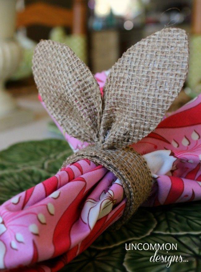 Bunny Ear Burlap Napkin Ring