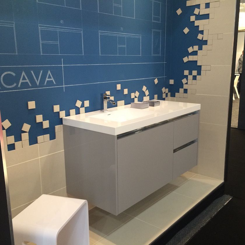 Kubista wall-mounted vanity from LaCava.