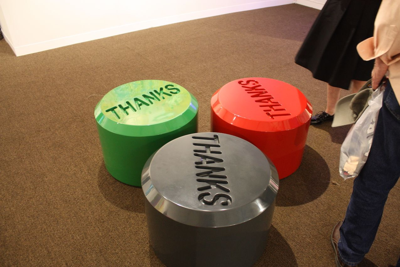 The Carl Solway Gallery's very colorful booth at PULSE Miami included these fun stools. Artful and functional, they're also presenting a positive message.