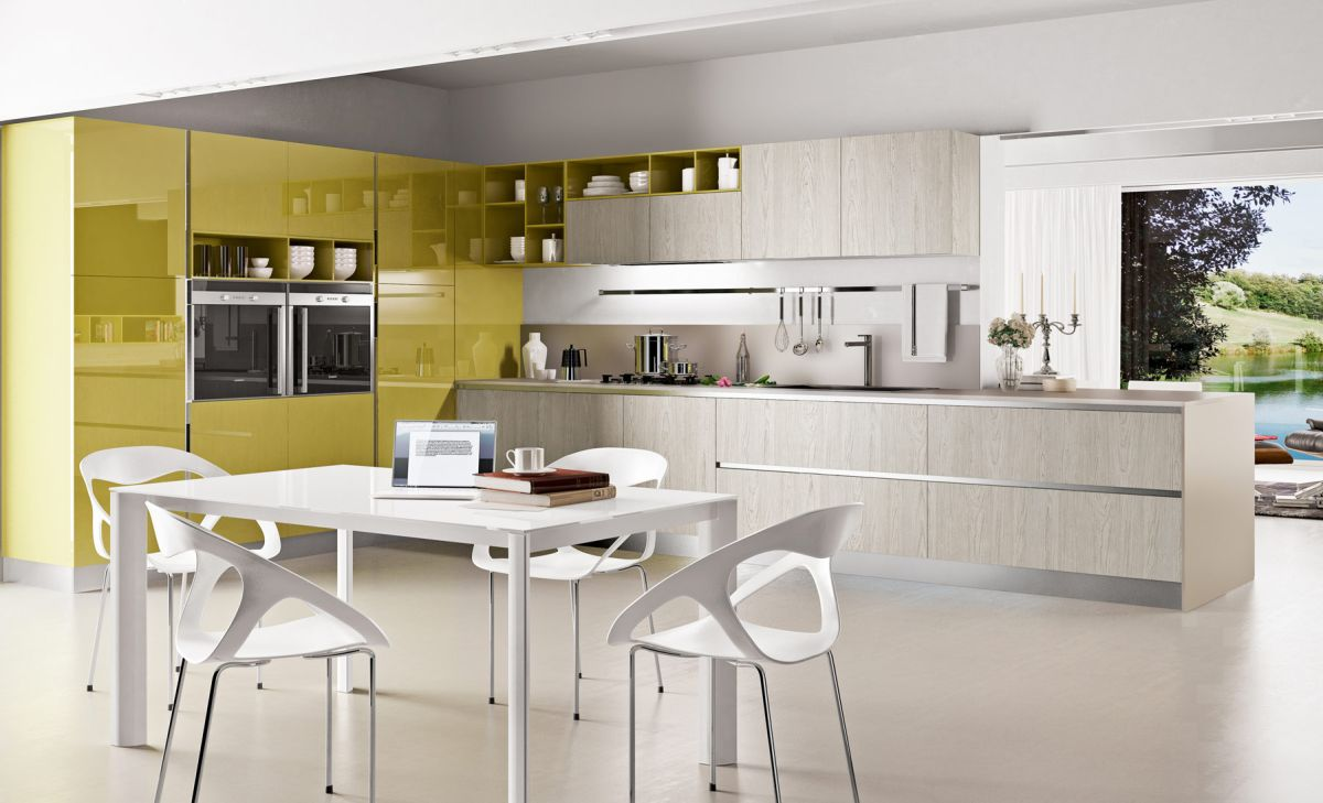 Chartreuse & White Kitchen color Scheme