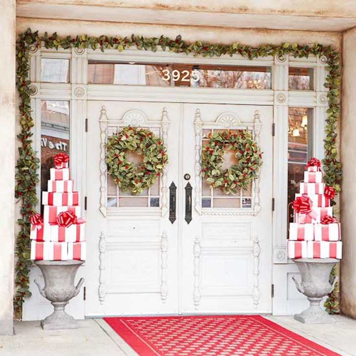 christmas garlands - Front Door Entrance Christmas Decoration
