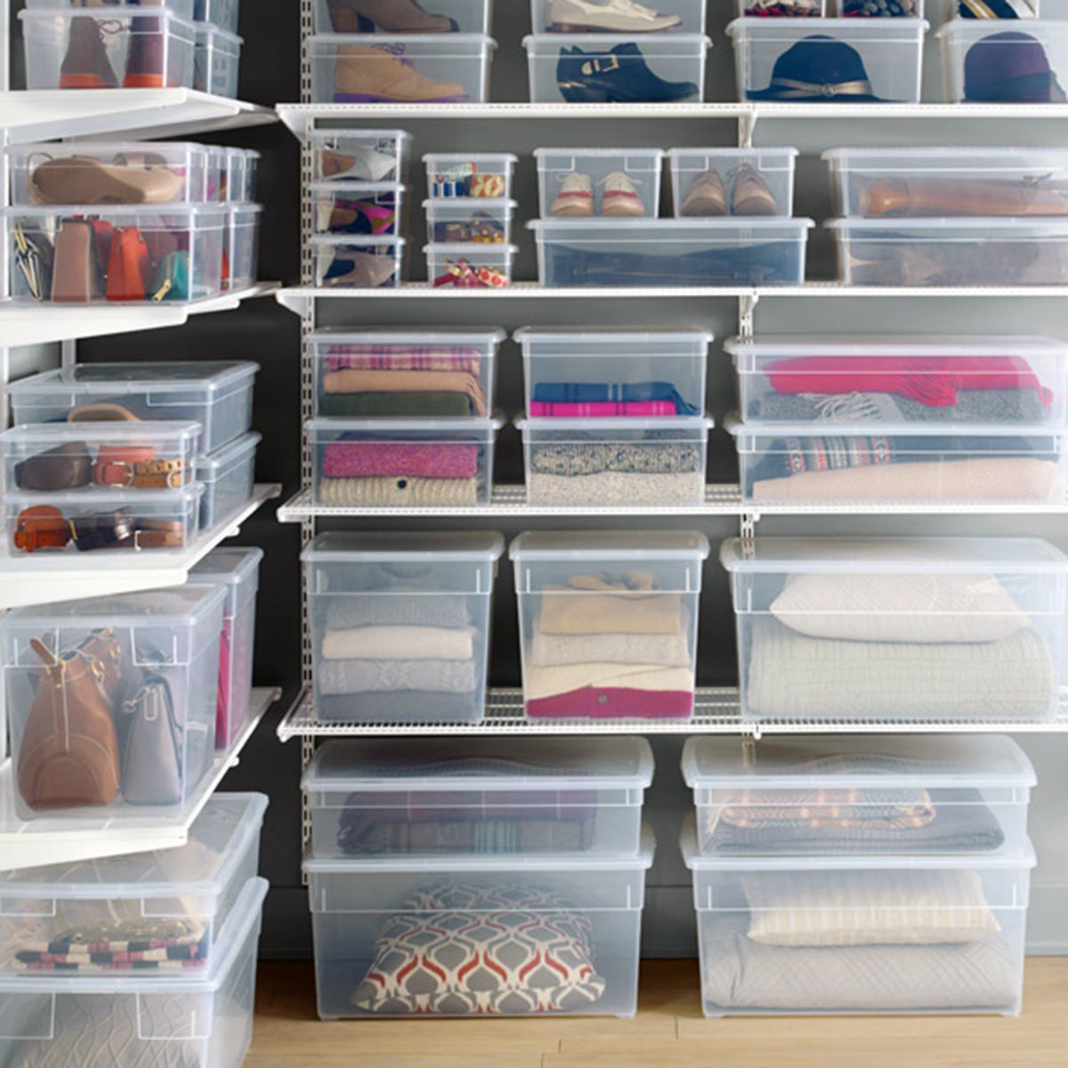 Closet transparent boxes