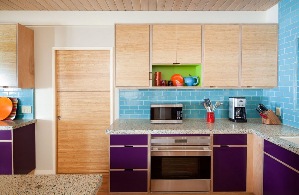 Colorblocked Lime, Plum, and Aqua Kitchen Color Scheme