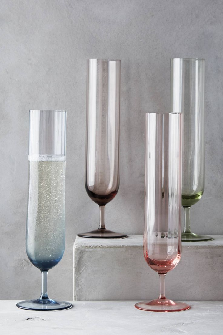 Colored champagne flutes