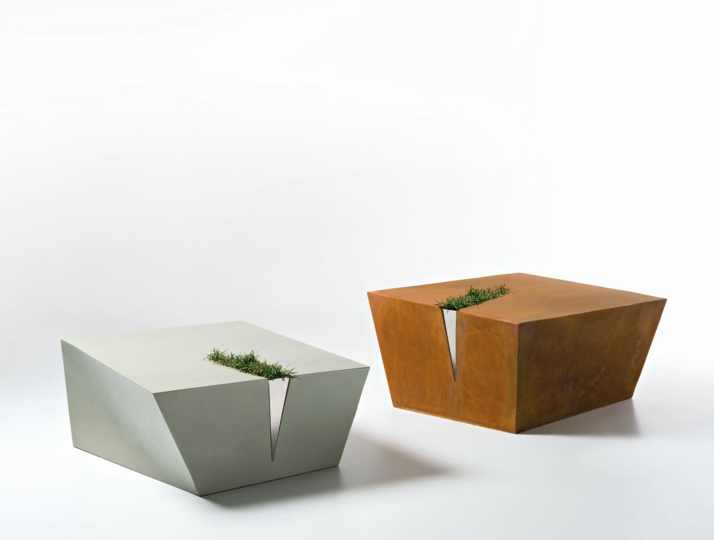 Colors of nature - metalic coffee tables with some green grass