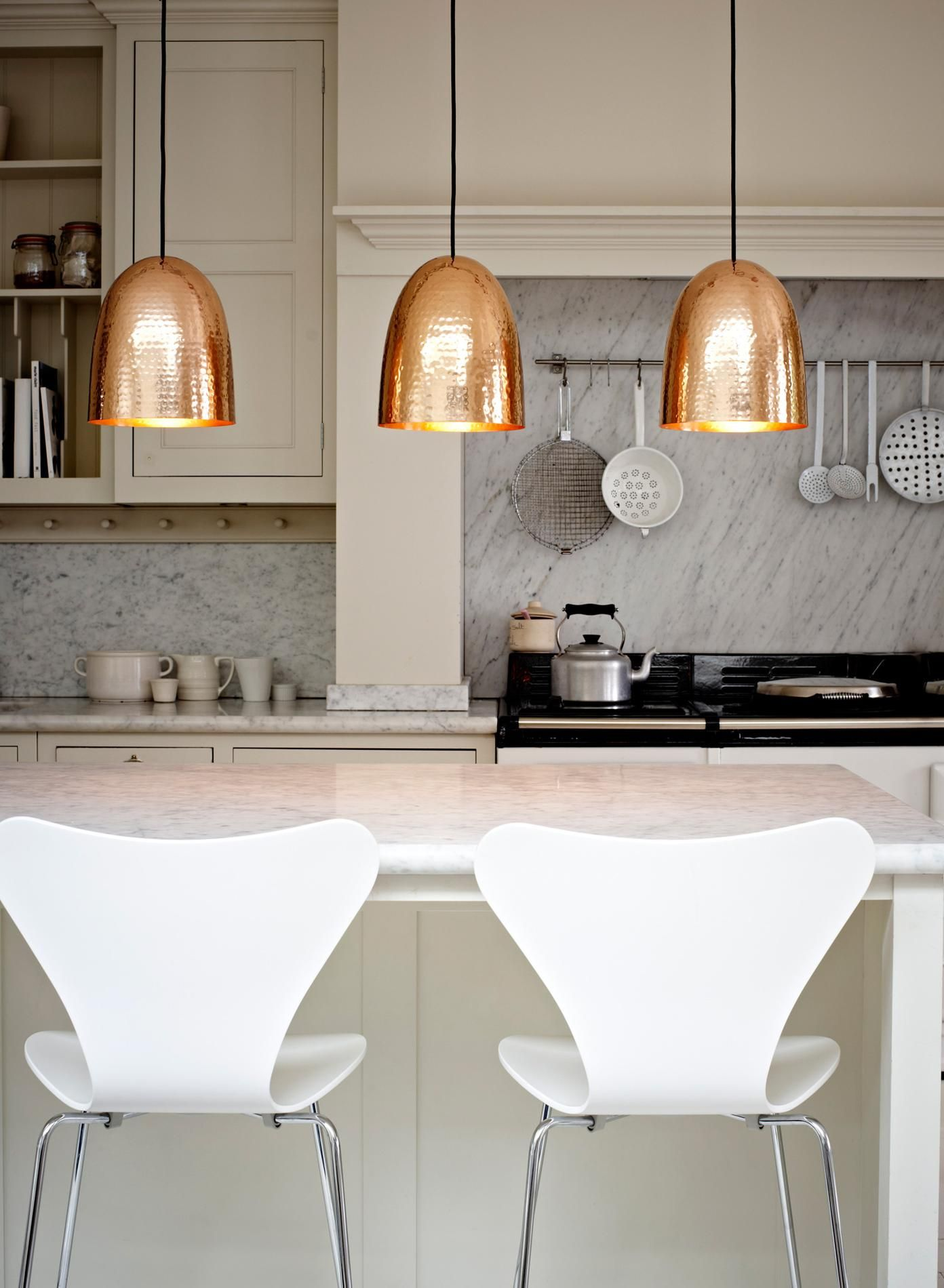 Copper Hammered Trio Pendant Lights