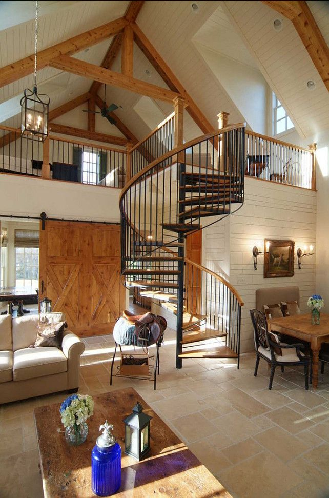 Cozy mountain cabin with spiral staircase