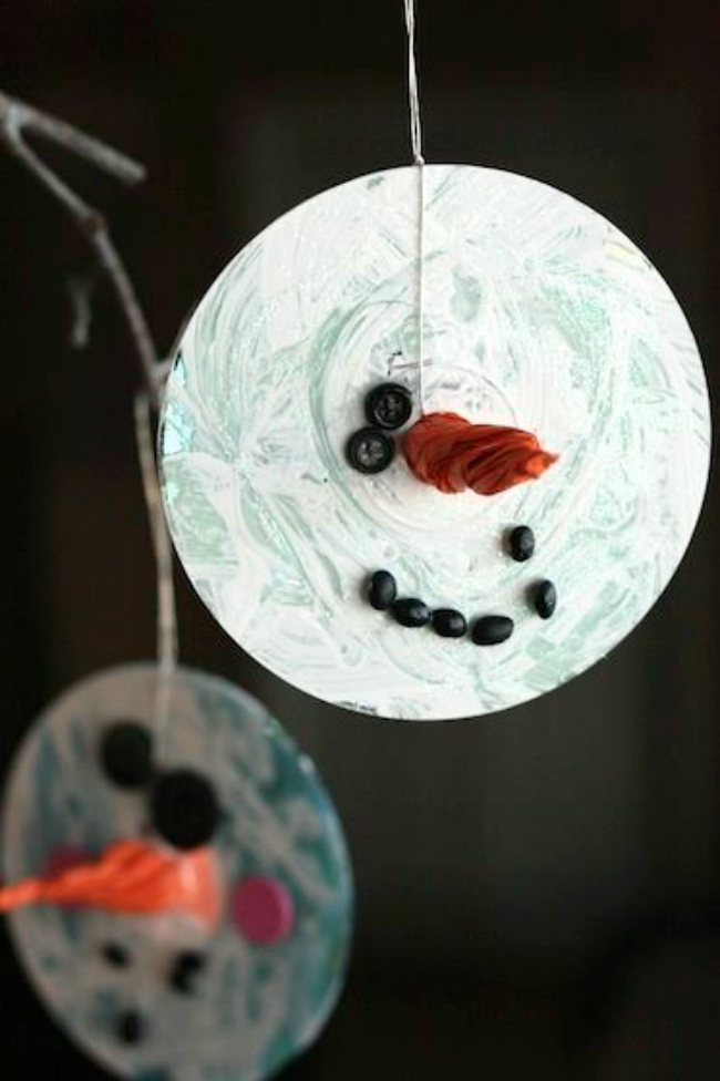 DIY CD snowmen ornament