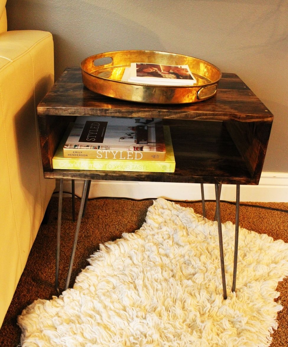 Picture of: Diy Hairpin Leg Side Table