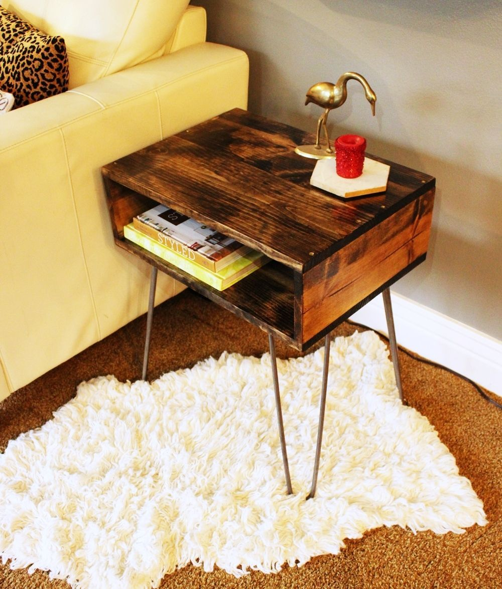 Coffee Table Angled Legs: DIY Hairpin Leg Side Table