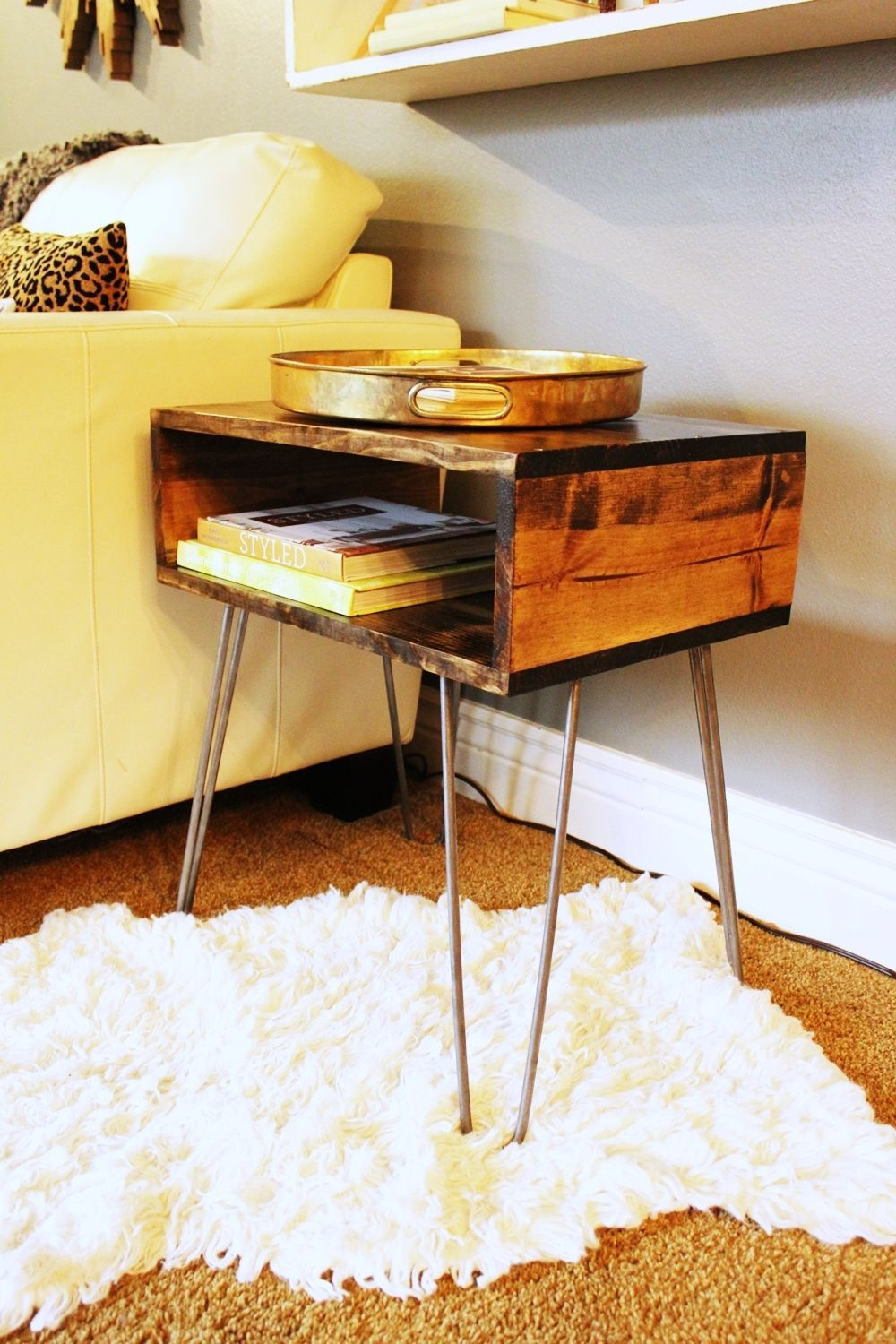 DIY Hairpin Leg Side Table Angle View