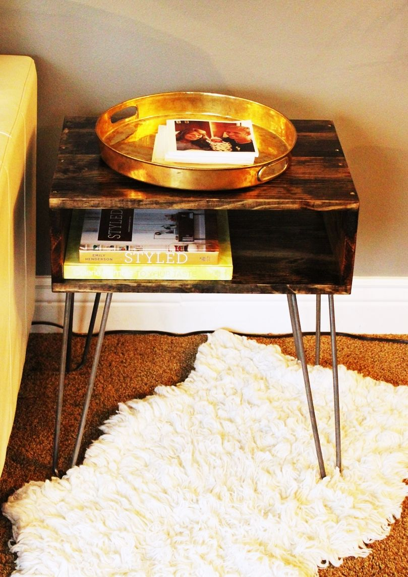 DIY Hairpin Leg Side Table For Sofa