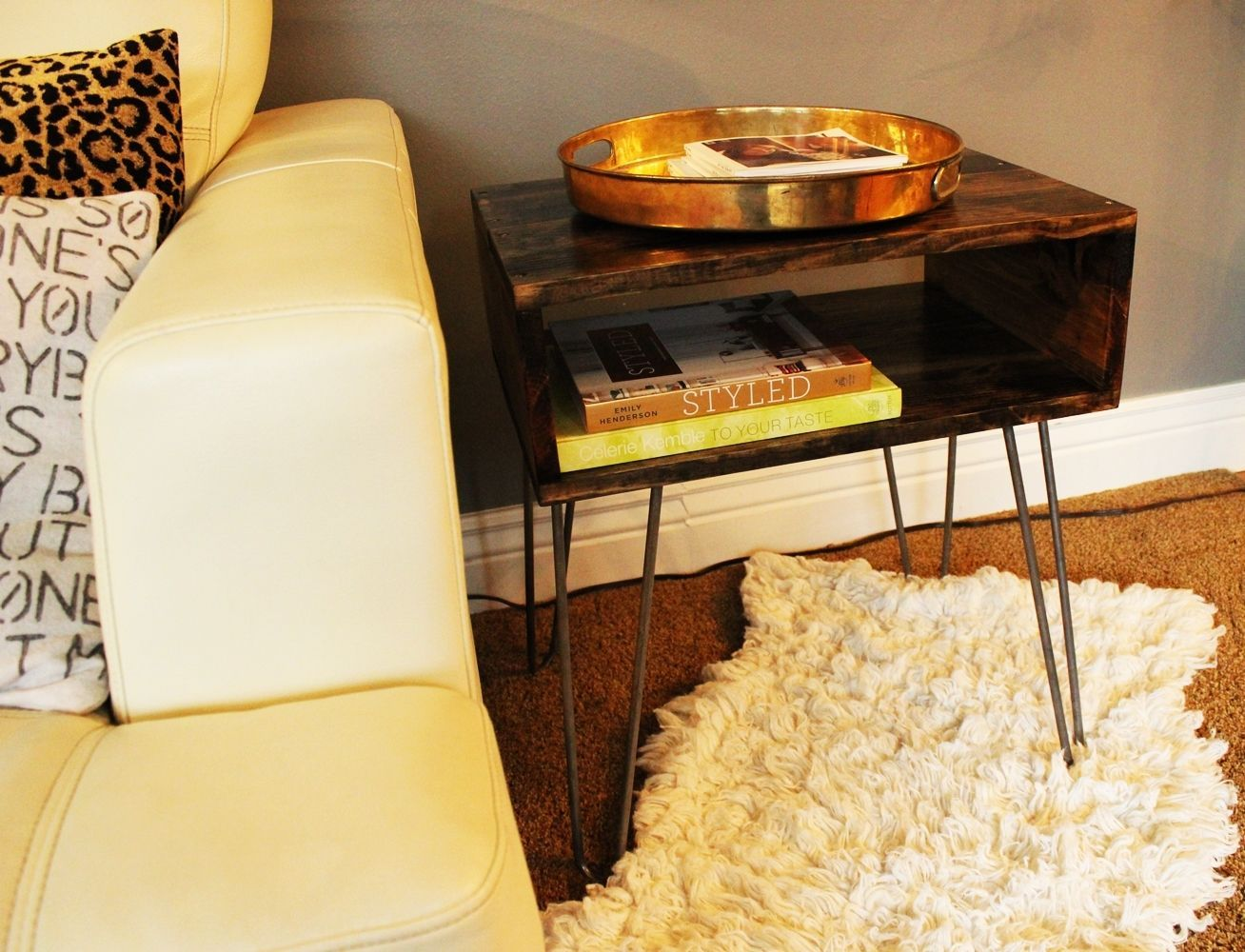 DIY Hairpin Leg Side Table - Statement Piece