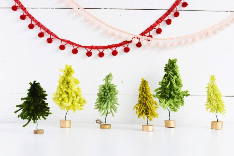 Yarn Crafts for Holidays – DIY Mini Christmas Trees